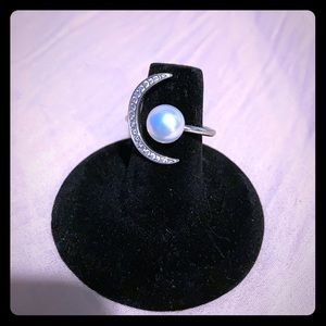 Sterling Silver and Fresh Water Pearl Moon Ring